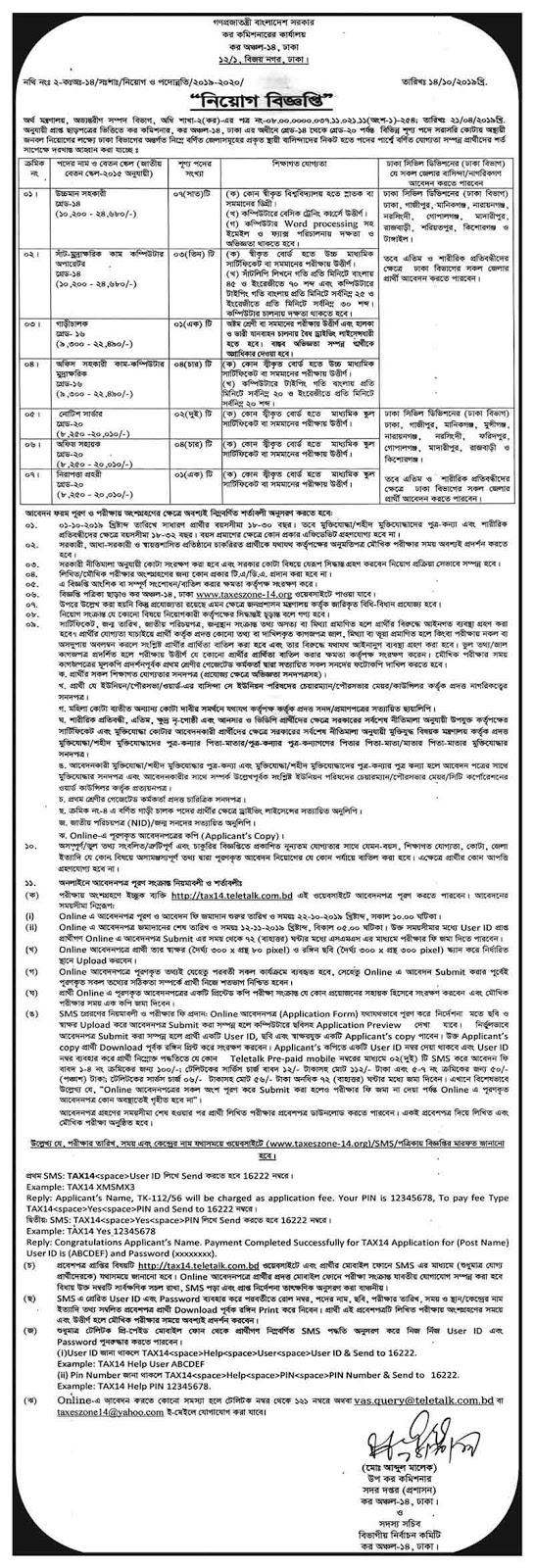 কর কমিশনারের কার্যালয়ে বিভিন্ন পদে চাকরির নিয়োগ বিজ্ঞপ্তি প্রকাশ | Income Tax Job Circular