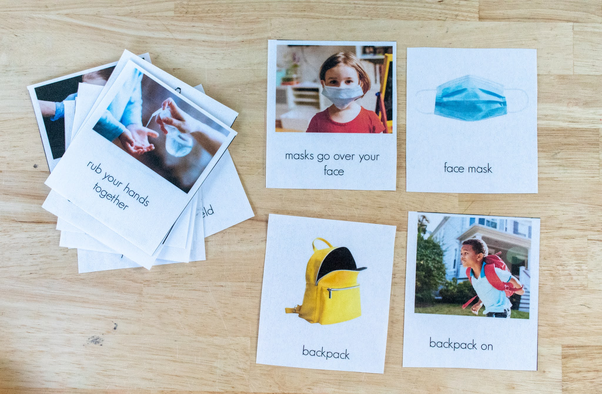 Montessori friendly activity for preschoolers who may be returning to school in the time of Covid-19, including a free printable.