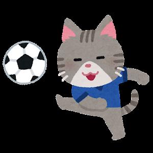サッカーをやる動物のキャラクター(猫)
