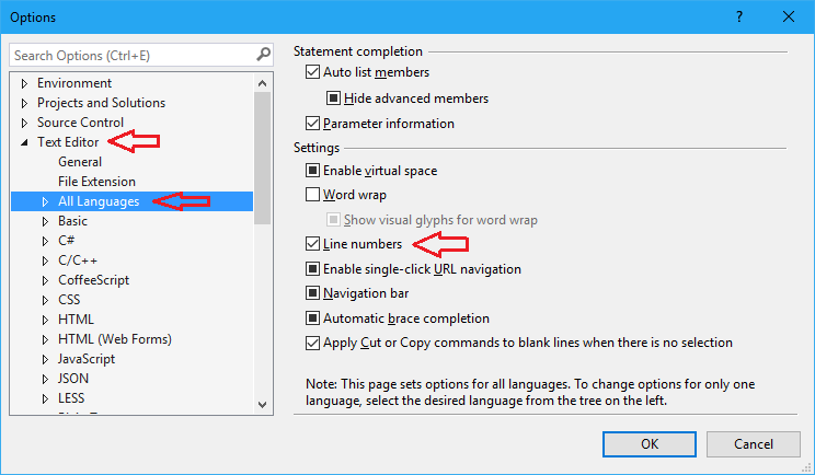 Visual Studio display or enable line numbers