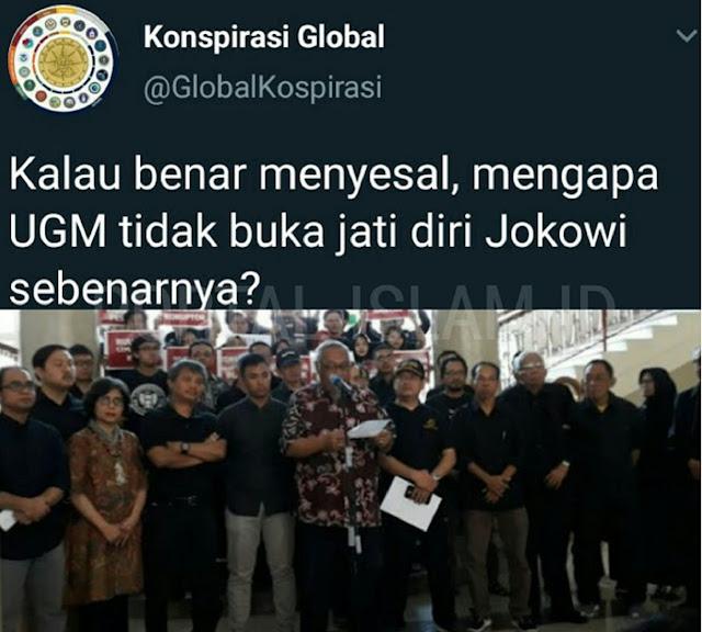 Menyesal Dukung Jokowi, UGM Ditantang Warganet untuk Buka Jati Diri Jokowi yang Sebenarnya