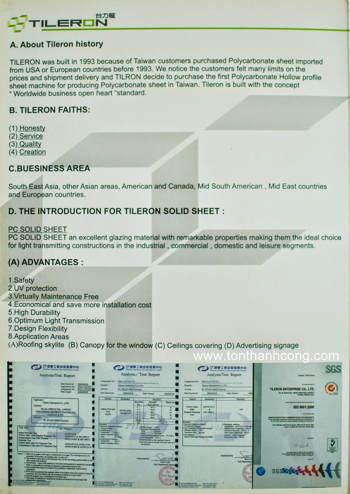 Catalogue Tấm Lấy Sáng Polycarbonate Đặc Ruột Tileron- Trang 3