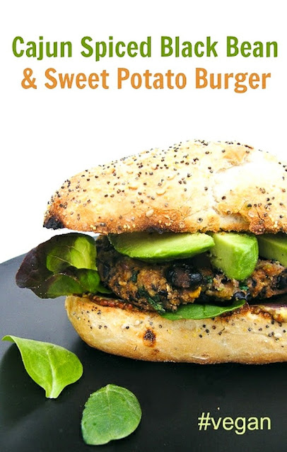 Spicy vegan burgers made with black beans, sweet potatoes, spinach and oats, with no egg or dairy. Droolworthy and healthy burgers.