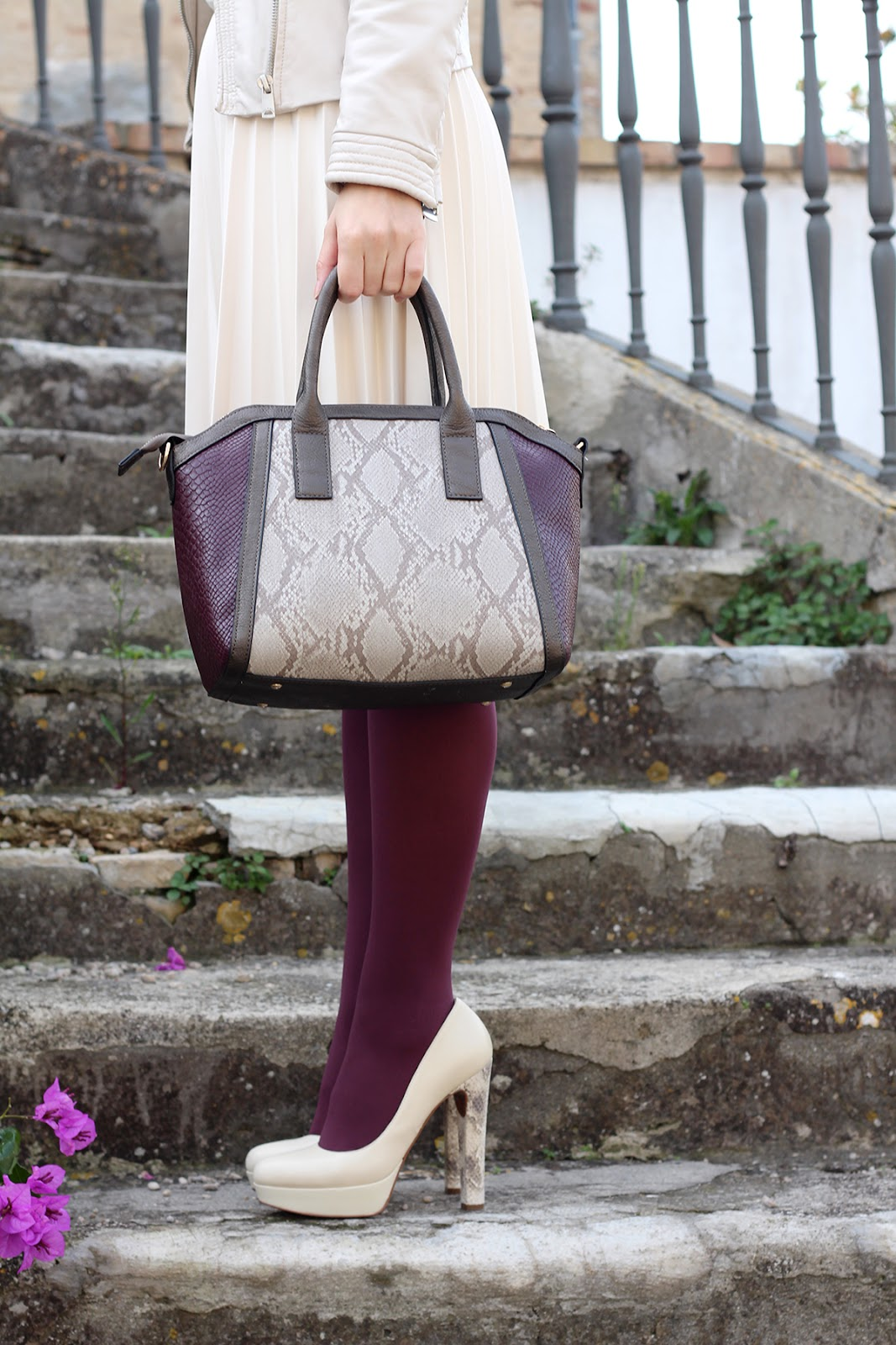 bijou brigitte bag animalier burgundy cream python pittarello heels scarpe shoes
