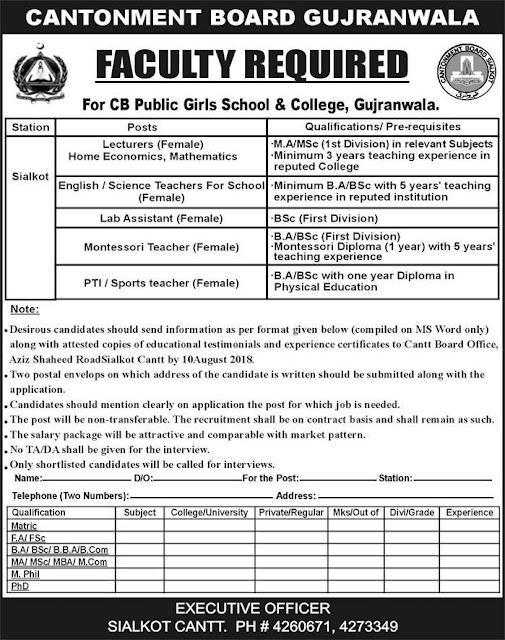 Jobs in Cantonment Board Public School & College