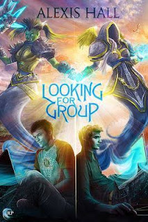 Painted cover of Looking For Group. Two white boys sit back to back, their attention focused on their laptops. The spectral figures of a female orc and a female elf float above them.