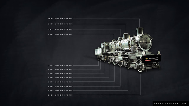 Timeline Infographic Elements with Locomotive in Black Background Slide 1