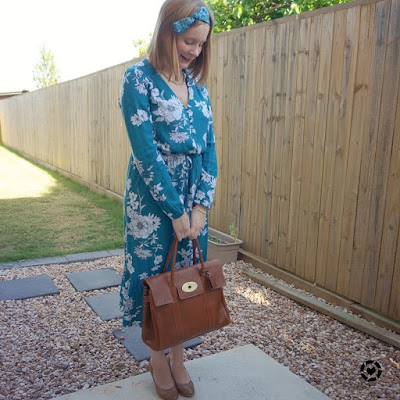 awayfromblue Instagram | kmart teal floral midi dress with heels, bow in hair and mulberry oak NVT bayswater