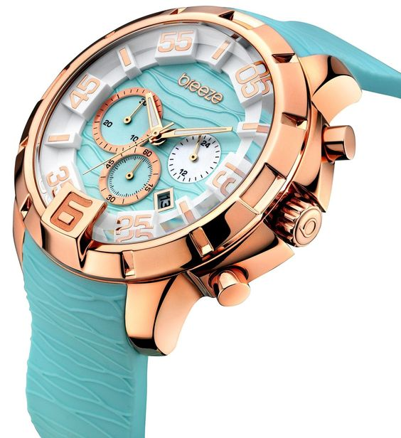Relógio dourado com bracelete azul da BREEZE - Colecção Tropical Affair 2016