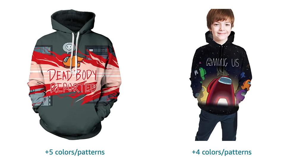 Among Us Dead Body Reported color sweatshirt