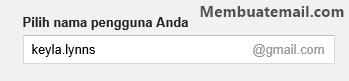 Mengisi nama pengguna / alamat email gmail