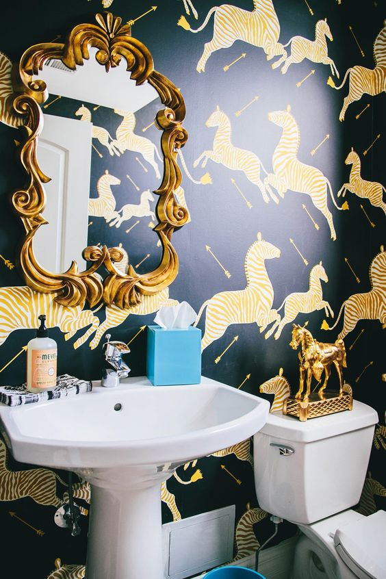 Chinoiserie chic scalamandre zebras bathroom roundup for Zebra print and red bathroom ideas