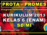 Prota dan Promes Kelas 6 SD/MI Kurikulum 2013 Tahun Pelajaran 2020 - 2021