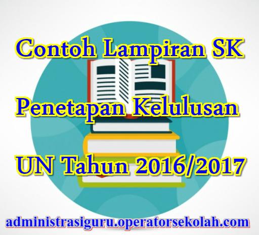 Contoh Lampiran SK Penetapan Kelulusan UN Tahun 2016/2017