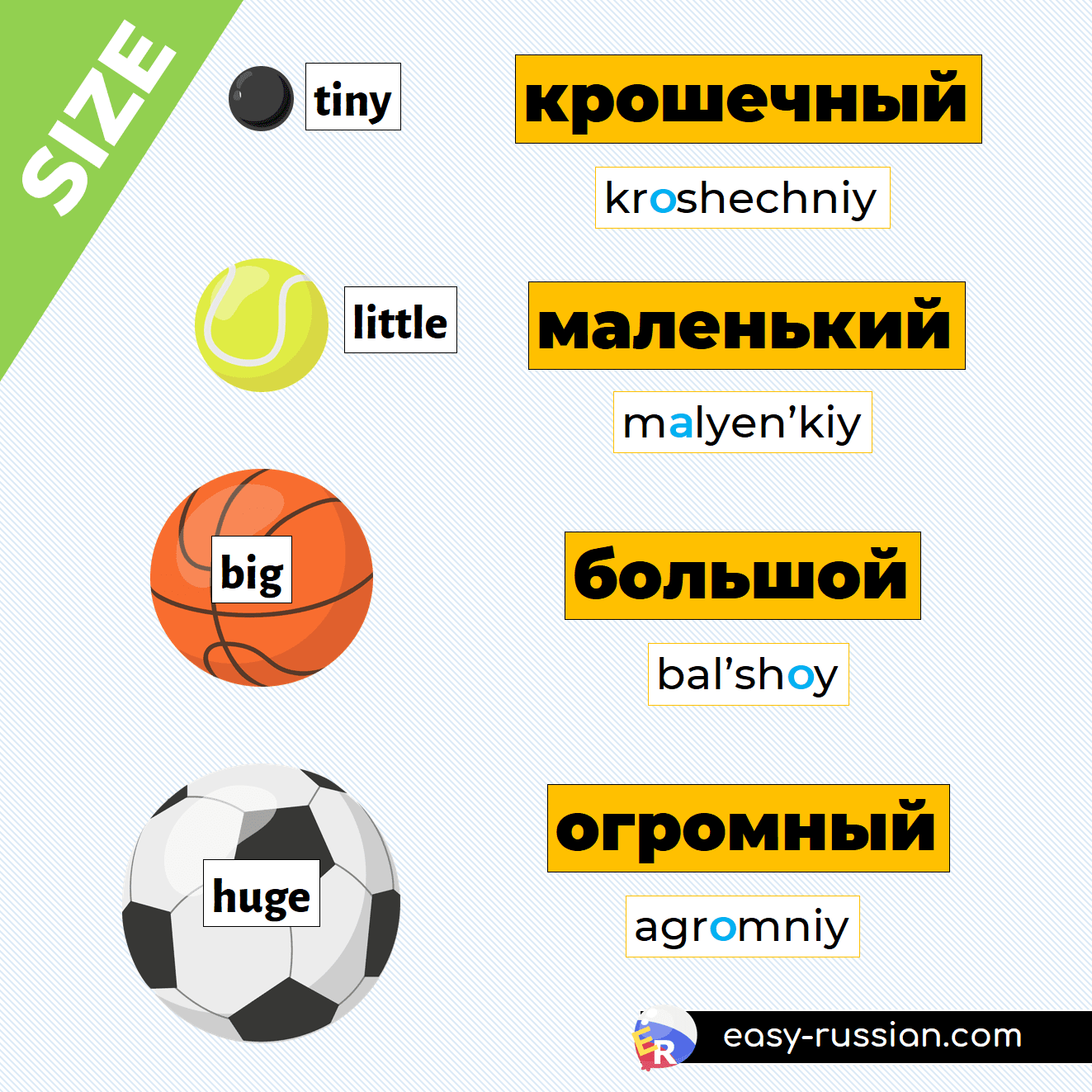adjectives to describe size in Russian
