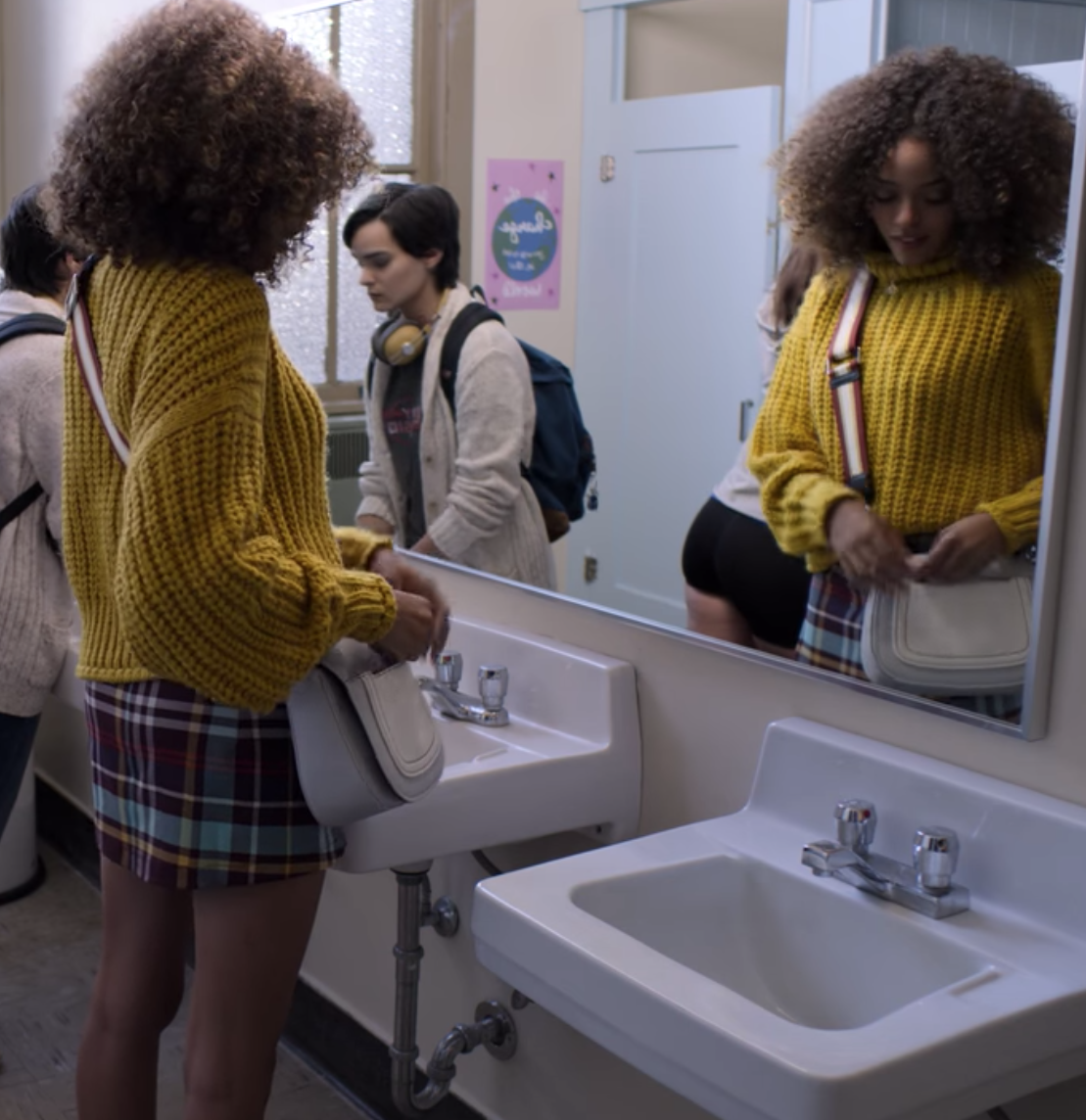 2cfcc887b14 We don't get a lot of scenes of Tabitha in this yellow turtleneck sweater  and plaid skirt. This was taken from the opening scene of the show.