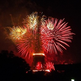 fireworks over eiffle tower