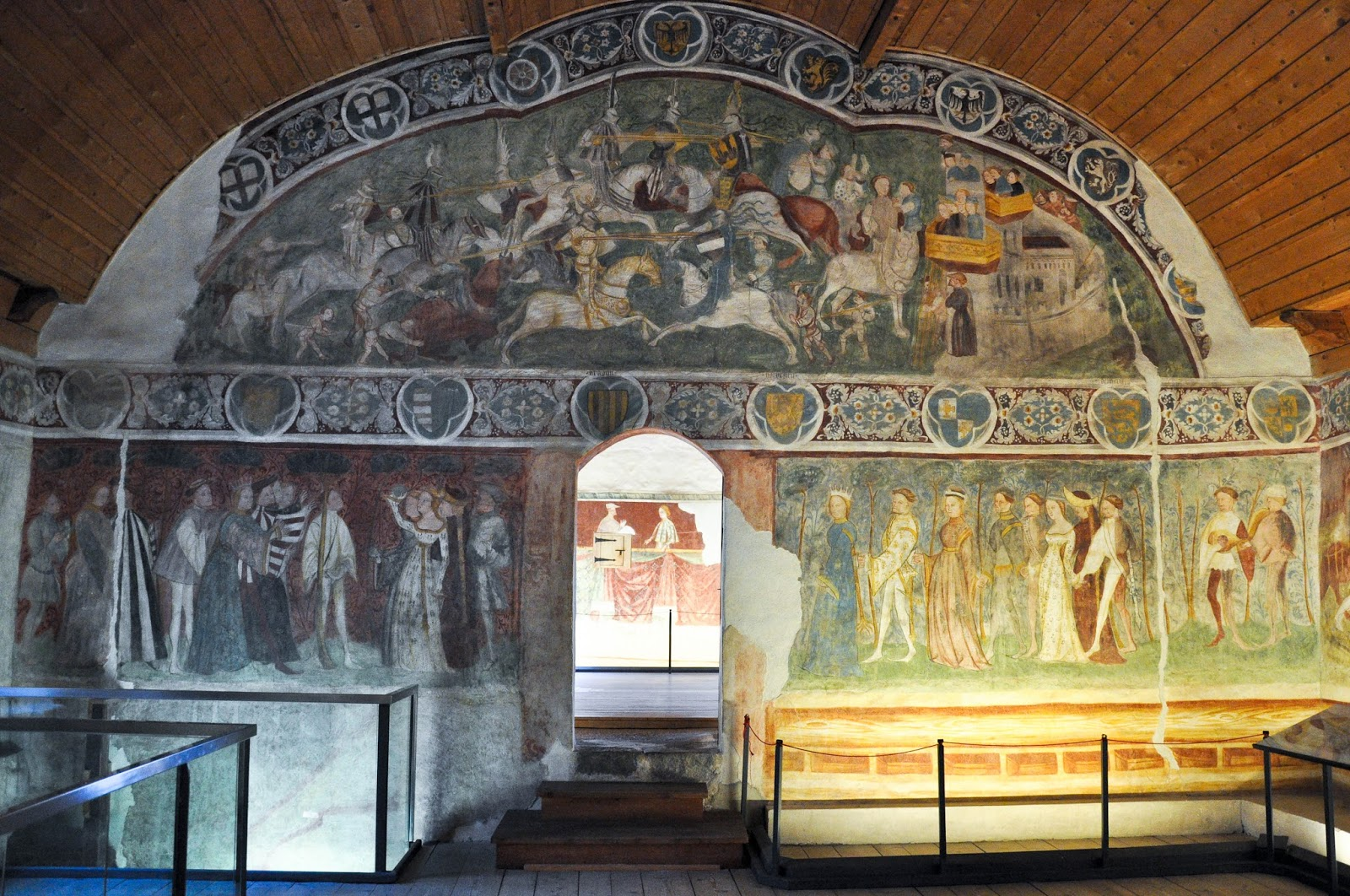 Frescoes in the Room of Love Couples, Runkelstein Castle, Bolzano, South Tyrol, Italy