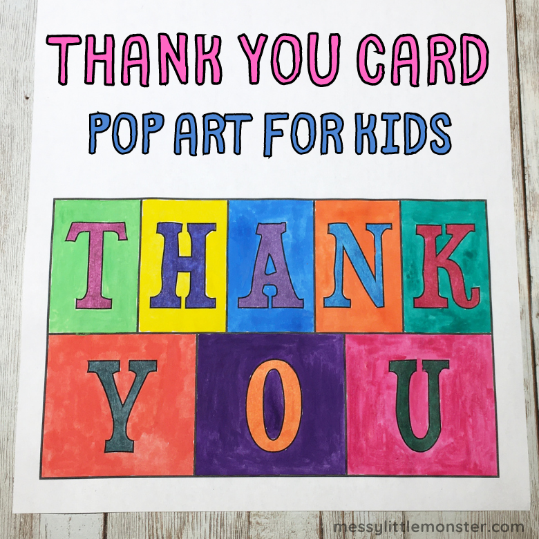 Thank you card pop art for kids