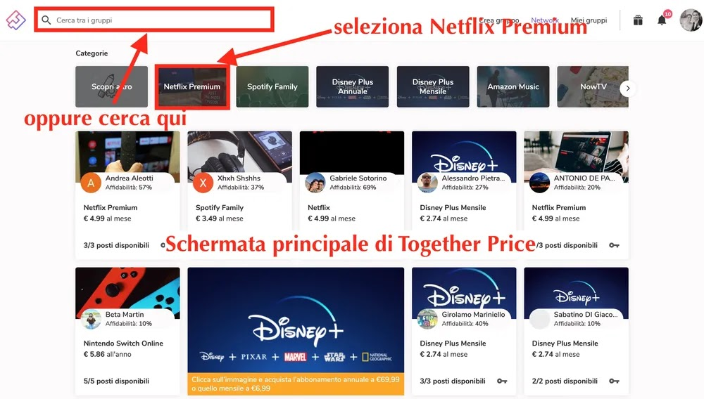 schermata principale di together price dove cercare account di netflix condivisi