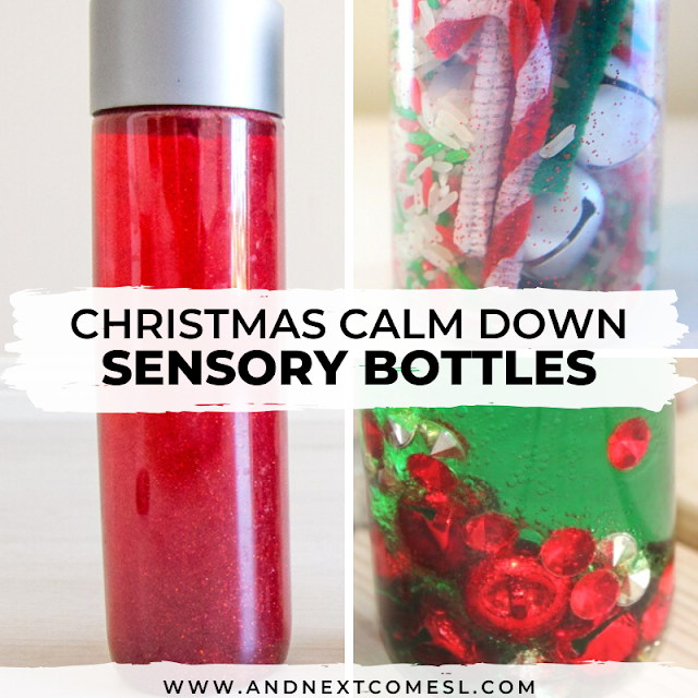 How to make Christmas sensory bottles that are calming for babies, toddlers, and preschool aged children