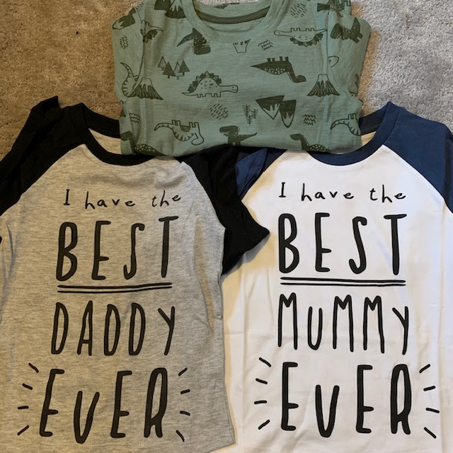 Dinosaur top, I have the best mummy ever top, I have the best daddy ever top