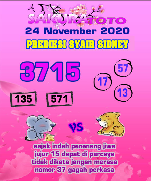 Syair Sakuratoto Sidney Selasa 24 November 2020