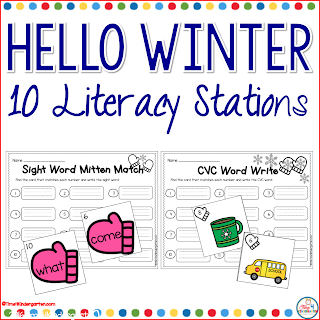 Winter Literacy Centers for Kindergarten