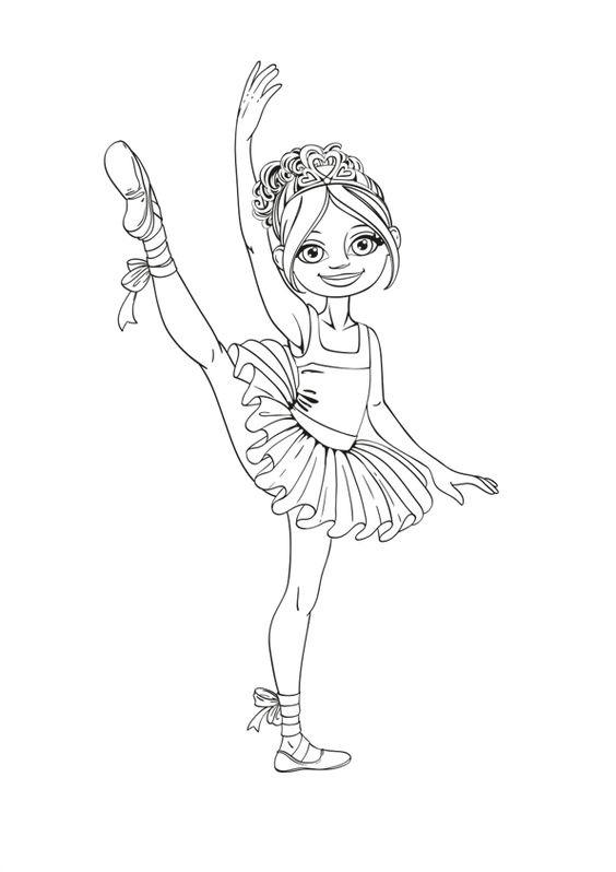 Hình tô màu động tác bé gái múa bale