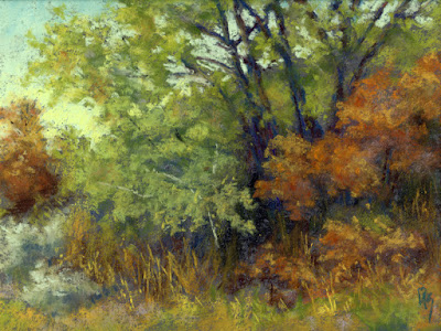art daily painting landscape autumn pastel foliage fall