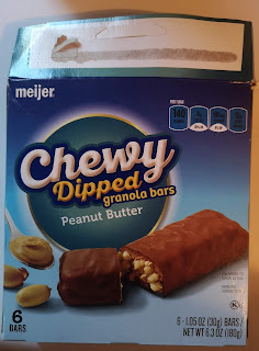 A box of Meijer Dipped Peanut Butter Granola Bars
