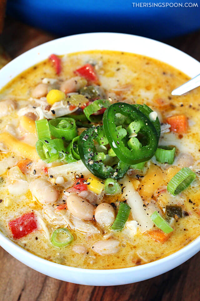 Creamy White Chicken Chili (Easy Recipe For Using Leftover Chicken)