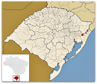 Cidade de Rolante, no mapa do Rio Grande do Sul