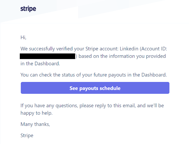 Congratulations your Stripe account is verified