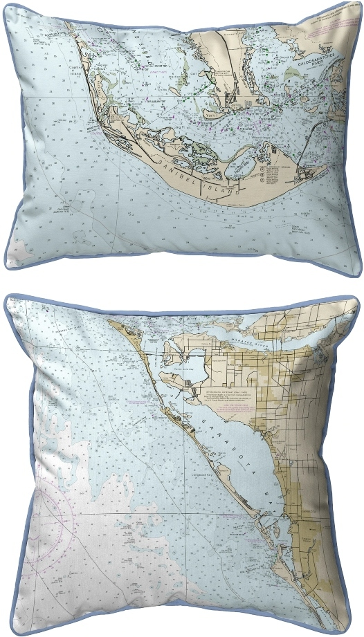 Florida Chart Nautical Map Pillows