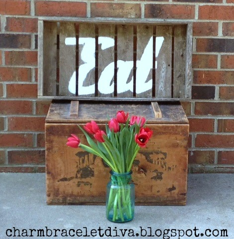 retro kitchen eat sign stencil wood paint tulips mason jar