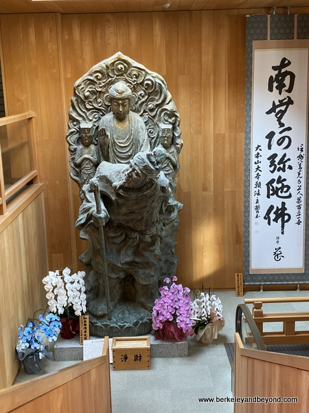 Buddha statue inside Daihongan at Zenkoji Temple in Nagano City, Japan