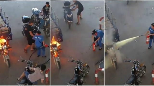 Tenang dan Berani, Petugas Pom Bensin Wanita Berhasil Padamkan Kendaraan Terbakar dalam 12 Detik