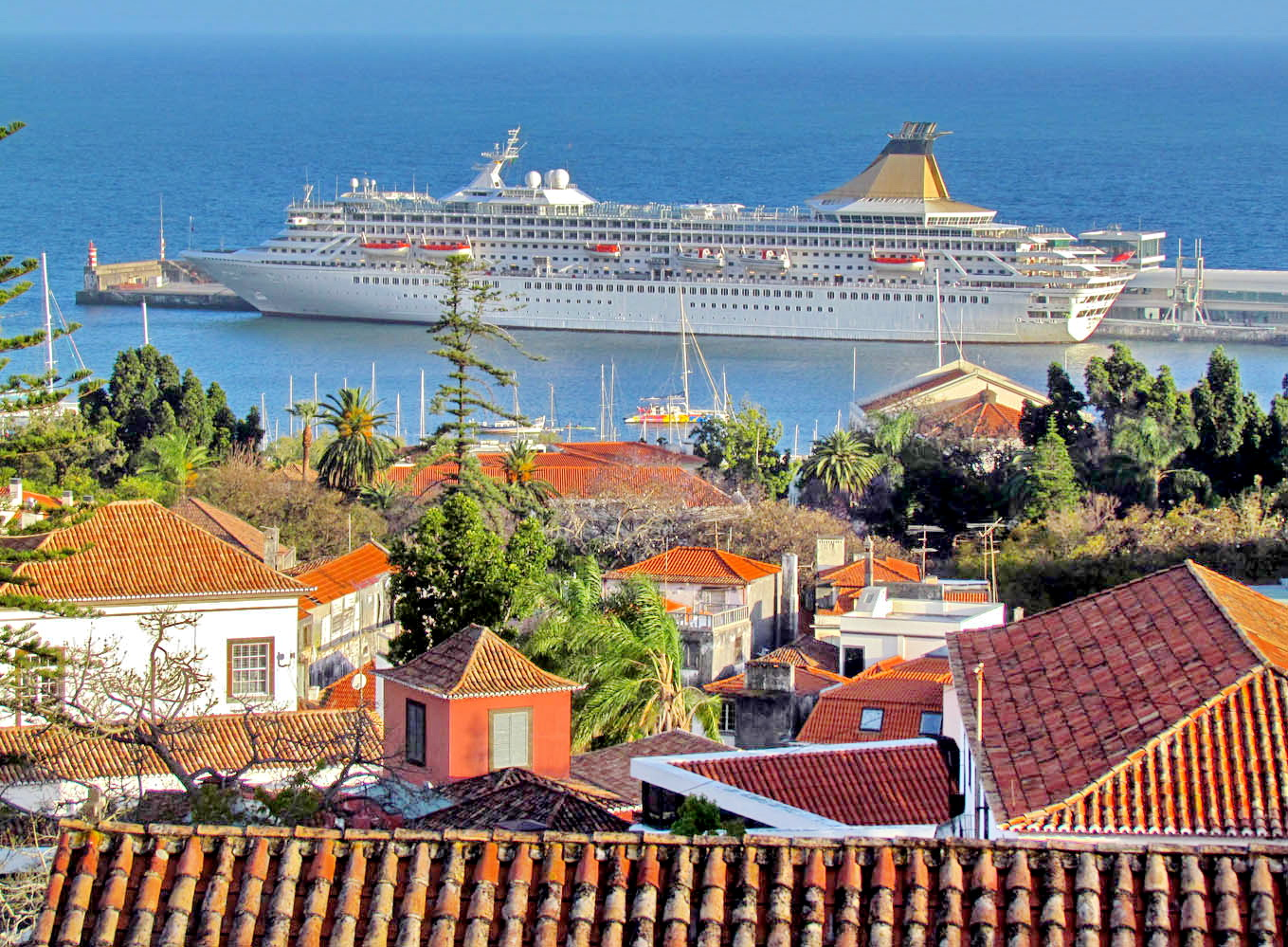 the roofs and the cruise ship