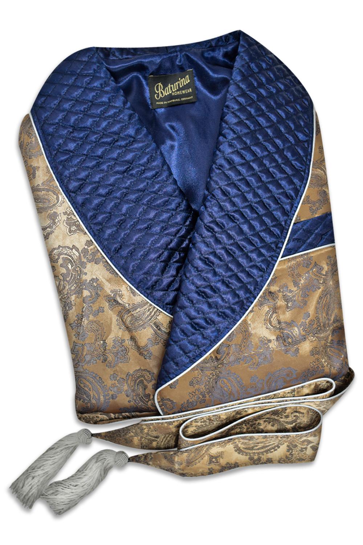 Mens Dressing Gown Robe Smoking Jacket Paisley Jacquard Cotton Robe Blue Gold Victorian Gentleman English Vintage Style