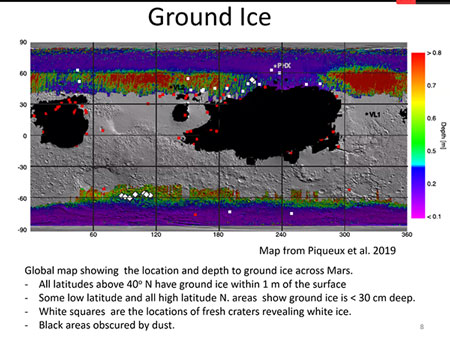 Potential of ground ice from radar measurements (Source: Carol Stoker, NASA Ames)