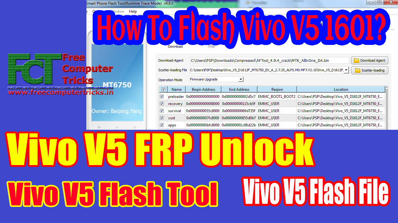 How To Flash Vivo V5 1601? Vivo V5 FRP Unlock | Vivo V5