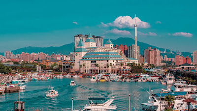 City, port, boats, sea, buildings, mountains