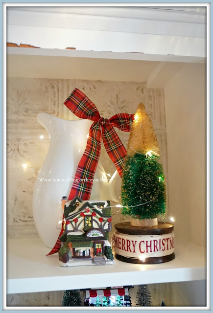 French -Farmhouse- Cottage -White -Dining- Room -Cabinet-Christmas- Vignettes-Ironstone-Christmas-Village-From My Front Porch To Yours