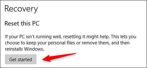 ابدأ إعادة تعيين Windows 10