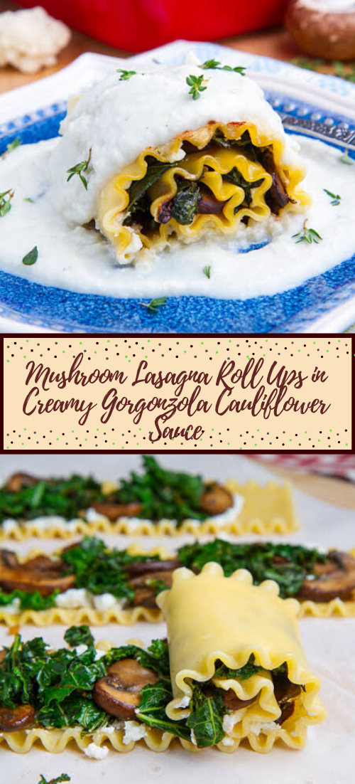 Mushroom Lasagna Roll Ups in Creamy Gorgonzola Cauliflower Sauce #healthyfood #dietketo #breakfast #food
