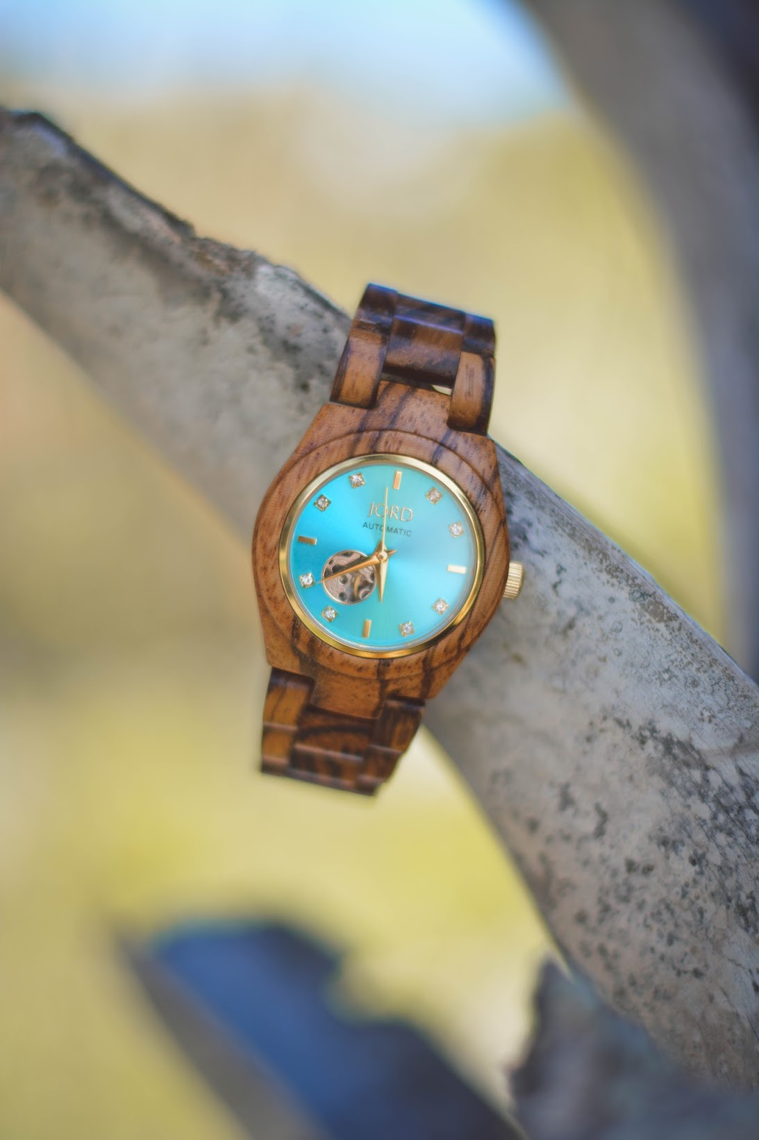 Jord Wooden Watch Amelia Blaire Cora Series Turquoise and Zebrawood