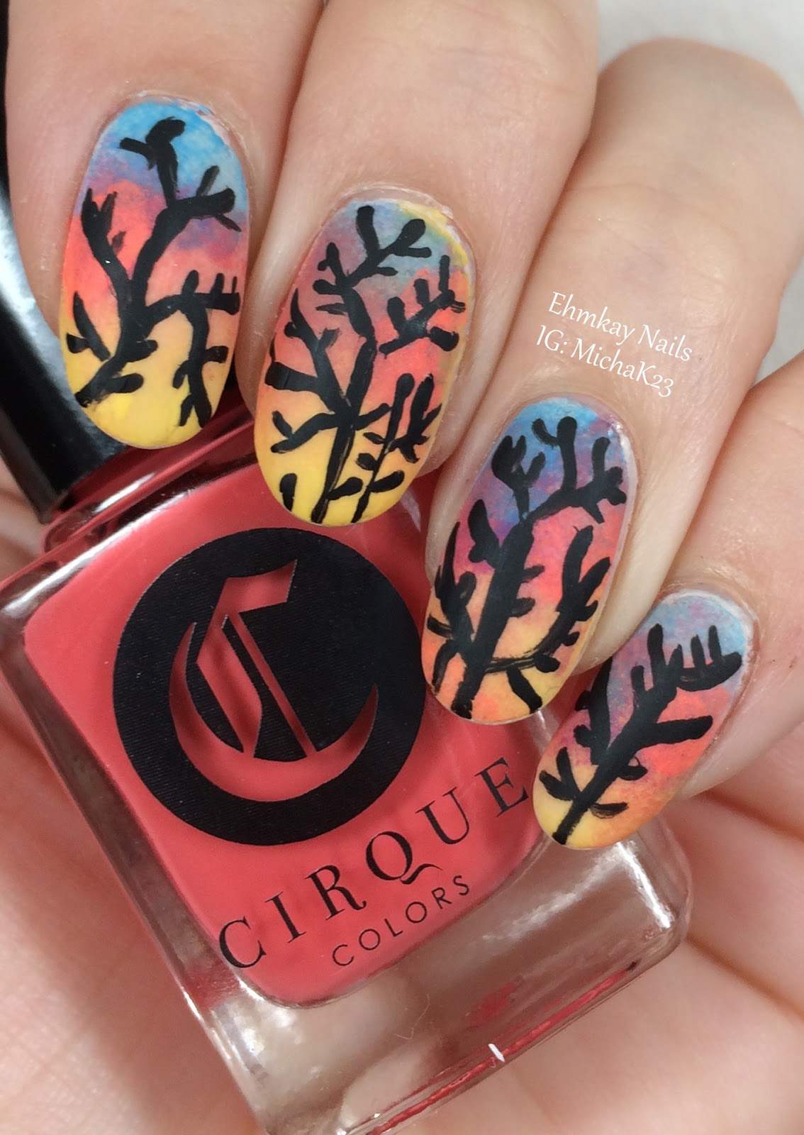 Ehmkay Nails Sunset Nail Art Gradient With Trees