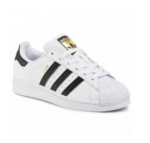 Pantofi sport dama originali adidas Superstar albi cu logo auriu