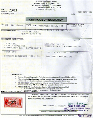 FrontRow Certificate of Registration